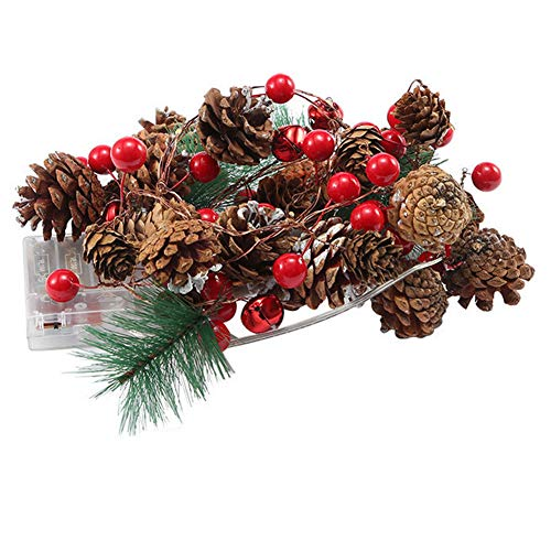 Christmas Garland Battery Operated Fairy String Lights Led Lighted Mini Pine Cone Garland Wreath for Christmas Decor