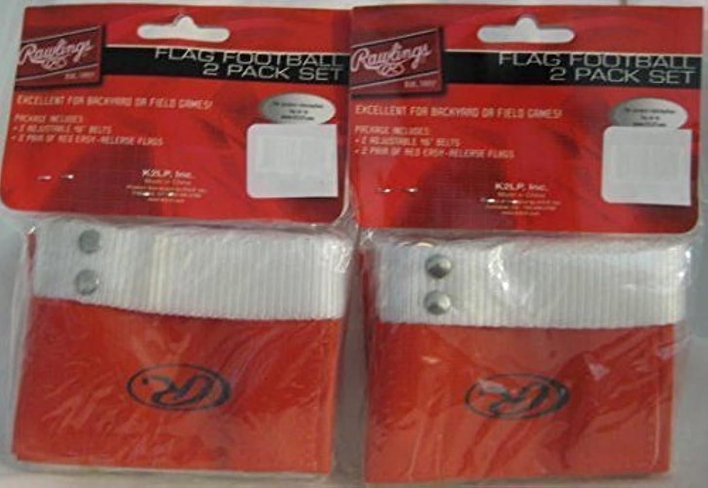 理由について専制2 Pack Rawlings Flag Football 2 Pack Set Each Package Contains: 2 Adjustable 46 Belts And 2 Pair of Red Easy-Release Flags