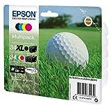 Epson Golfball T3479 Tintenpatronen, Original, Multipackung, für Tintenstrahldrucker, Pigmenttinte (schwarz, cyanblau, magentarot, gelb)