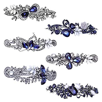 Hair Barrettes for Women Anezus 6 Pcs Crystal Rhinestones Hair Barrettes Fancy Vintage Spring French Hair Clips for Women Girls Hair Styling Tools Accessories