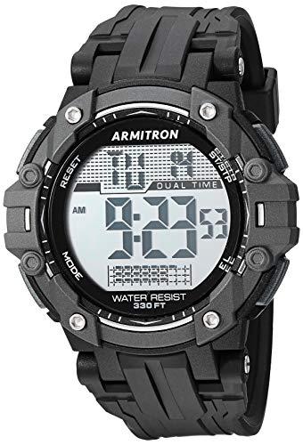 Armitron Sport Reloj digital 40/8429BLK con cronógrafo y correa de resina negra para hombre