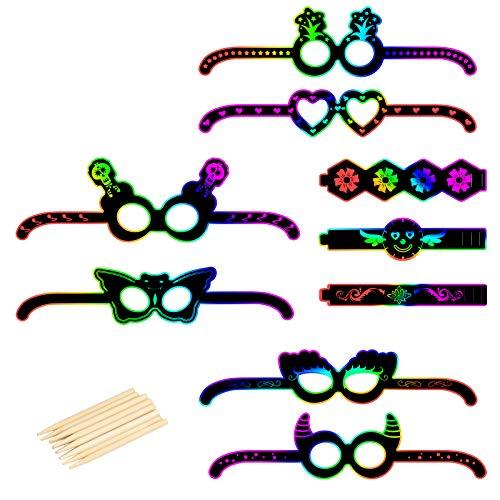 LAMEK 36 Pcs Brille Kratzbilder Armbänder Kratzpapier Mitgebsel Set zum Basteln Regenbogen Notizpapier DIY Rubbelkarten mit Holzstiften Party Zubehör für Kinder Mädchen Jungen Geburtstag