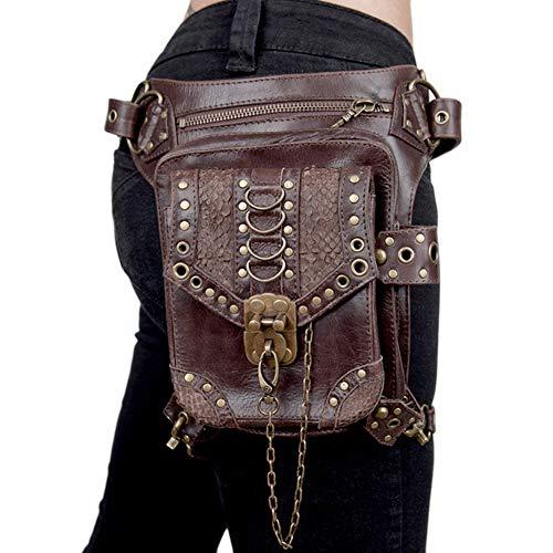 YOUCAI Mujer Hombres Cuero PU Bolso Pequeño Bolso de Viaje Al Aire Libre Bolso de Cadera con Cinturón Bolso Cintura Gótico Cintura Packs Pierna Bolsa,Marrón,Talla única