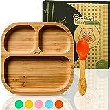 bambuswald vajilla para niños con ventosa y cuchara | plato para niños hecho de bambú con 3 subdivisiones - plato para bebés