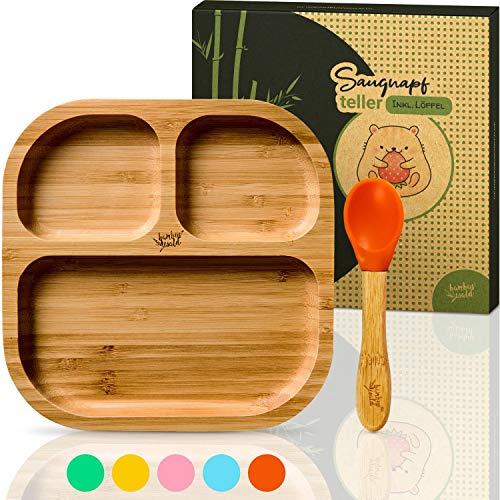 bambuswald© vajilla para niños con ventosa y cuchara   plato para niños hecho de bambú con 3 subdivisiones - plato para bebés