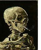 N/C Conjunto de Pintura al óleo por números DIY Pintura Digital por números Paquete Cráneo de Fumar Pintura al óleo Kits murales Colorear Arte de la Pared Imagen Regalo 40X50Cm Sin Marco