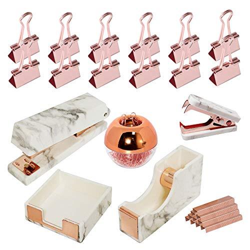 MultiBey 7 Piece Office Desk Stationery Kit with Marble Stapler, Tape Dispenser, Memo Sticky Notes Holder, Magnetic Paper Clips Holder, Staple Remover, Binder Clips, Staples - Office Supplies