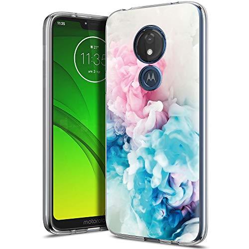 ZhuoFan Cover Motorola Moto G7 Power, Custodia Cover Silicone Trasparente con Disegni Ultra Slim TPU Morbido Antiurto 3d Cartoon Bumper Case Protettiva per Motorola Moto G7 Power (Rosa Blu)