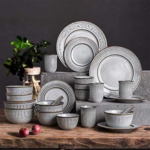 Juego de platos, Conjuntos de cena de cerámica para 6, platos, tazones y tazas  Hablados de glaseado de horno premium de 38 piezas - conjunto de placas de cena de porcelana de rayas vintage para el re