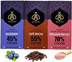 Queen & Bee – 45% -70% Dark Chocolate Combo Pack of 3 (Blueberry, Café Mocha, Himalayan Pink Salt) (Gluten Free) (80gm x...