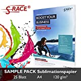 S-RACE Lot de 20 feuilles de papier pour impression par sublimation A4 120 g/m² Pour imprimante à jet d'encre avec encre de sublimation Séchage rapide, ineffaçable