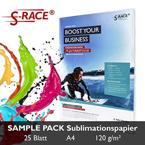 S-RACE Sublimationspapier A4, Probier-Pack 20 Blatt, 120 g/m² - geeignet für Inkjet Drucker mit Sublimationstinte - schnell trocknend, wischfest
