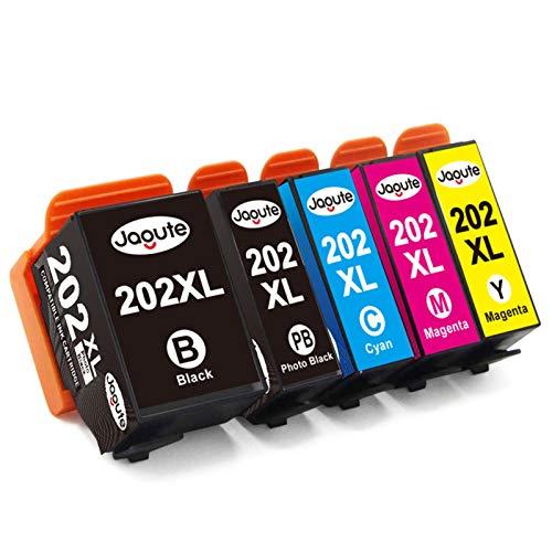 Jagute 202XL Compatible Cartucce d'inchiostro Sostituzione per Epson 202XL 202 per Epson Expression Premium XP-6000 XP-6005 XP-6100 XP-6105 XP6000 XP6005 XP6105 (Pack of 5)