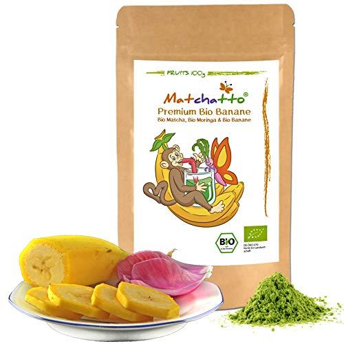 💚 MATCHATTO - 100g Bio Matcha Tee (Tencha Schattentee) | Bio Moringa Oleifera Pulver, Bio Banane - dezente sanfte Süße. 3 Zutaten sonst nix. Energie für Deine Sinne. (DE-ÖKO-070)