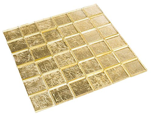 Glasmosaik Gold-Effekt 4,8 x 4,8 cm Fliesen Mosaik 8 mm
