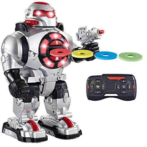 Think Gizmos TG542-VR RoboShooter Remote Control Robot for Kids - Fun Toy Robot with Voice Recording, Fires Discs, Plays Music & Dances. Awesome RC Robot Toy for Boys and Girls
