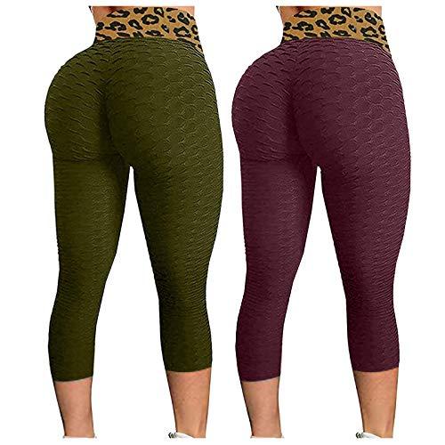 2 Stücke Damen Yogahose Tiktok Leggings Leopard Hohe Taille Booty 3/4 Kurzhose Honeycomb Gym Fitness Jogginganzug Hose Anti Cellulite Hosen Hintern Heben...