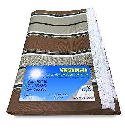 tex family Tente de Soleil Vertigo pour extérieur, Jardin, Balcon, Riche, Marron, imperméable et Hydrofuge - 150 x 250 cm.