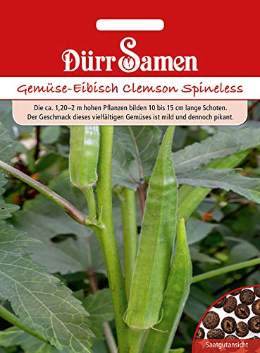 """Dürr-Samen - 25 x Okra Gemüse-Eibisch \""""Clemson Spineless\"""" Saatgut für Balkon, Garten, Hochbeet & Gewächshaus - Gemüse Eibisch Samen für Gemüsegarten - Eibischsamen Saat zum Anpflanzen & Züchten"""