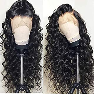 Andria Hair Water Wave Lace Front Wig Synthetic Wigs Heat Resistant Hair Synthetic Hair Wigs with Baby Hair Bleached Knots Pre Plucked Wigs for Black Women (Black Hair 22
