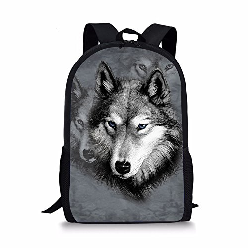 Showudesigns Gray Printing Wild Wolf Backpack Teen Boys Outdoor Pack