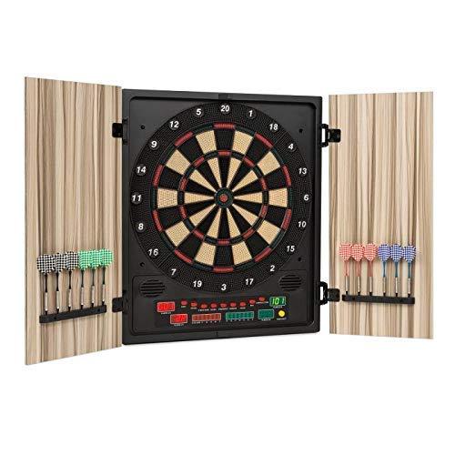 OneConcept Dartmaster 180 Dartautomat elektronische Dartscheibe E-Darts (Spielcomputer, bis zu 8 Spieler, virtueller Gegner, LED-Anzeigen, 12 Pfeile) beige