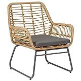 IDIMEX Esszimmerstuhl BOREAL aus Polyrattan-Geflecht, Leichter Küchenstuhl mit Sitzkissen, eleganter Korbstuhl mit Metallbeinen