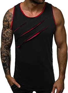 Men's Sleeveless Tank Top TANGSen Solid Fashion Summer Muscle T-Shirt Bodybuilding Sport Fitness Vest