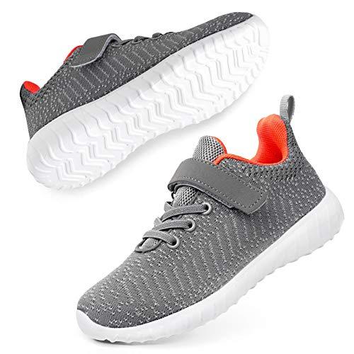 Kids Youth Athletic Fashion Sneaker Running Slip On Shoe Hook Loop Grey 8 Big Kid