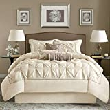 OSD 7pc Ivory Cream Puckered Comforter Queen Set, White Pintuck Solid Color Adult Bedding Master Bedroom Stylish Textured Tufted Pattern Classic Elegant Themed Traditional, Polyester