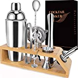 Cocktail Shaker Set Bartender Kit-10-Piece Premium Stainless Steel Martini Shaker Set with Bamboo Stand Includes a 25 oz Shaker to Make Mixing Wonderful