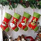 Houwsbaby 4 piezas de medias de Navidad de fieltro 3D Papá Noel muñeco de nieve oso y...