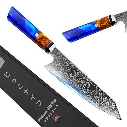 Jikko Damast küchenmesser 33cm Hergestellt in Japan - Santokumesser - Profi Messer High-End - Japanisches Messer mit einer starken und ultrascharfen Klinge