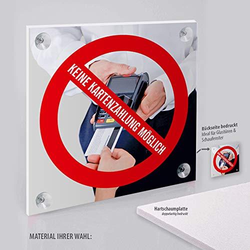 Schild: Nur Barzahlung, Keine Kartenzahlung Kreditkarten möglich | Hartschaumplatte