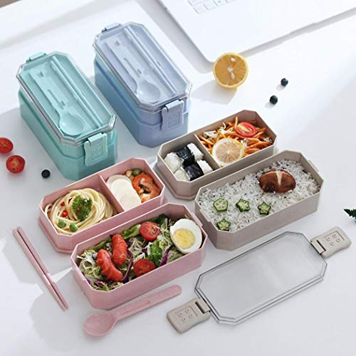 Eubell Two Stackable LeakProof Bento Box - Lunch Containers 2 Layer Lunch Box Kids & Adults For Healthy Snacks Stylish Bento Box