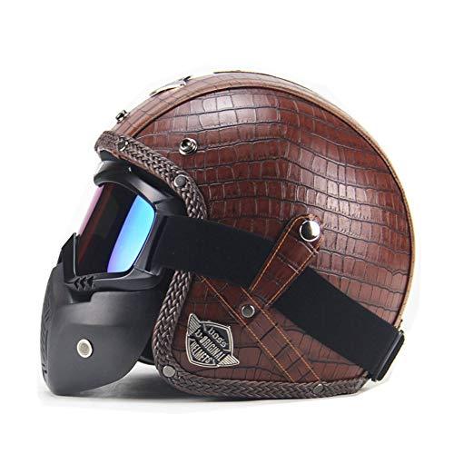 Motorradhelm, Klassisches Leder,Helm Scooter-Helm Integral-Helm Sturz-Helm Sport Helmet Roller-Helm