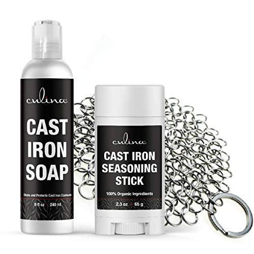 Culina Cast Iron Seasoning Stick & Soap Set &stainless Scrubber | All Natural Ingredients | Best for Cleaning, Non-stick Cooking & Restoring | for Cast Iron Cookware, Skillets, Pans & Grills!…