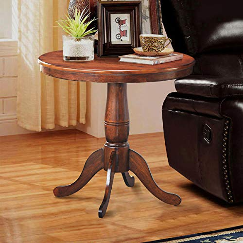 """Giantex Table 30"""" Wooden Round Pub Pedestal Side Table, Adjustable Foot Pads, Spacious Table Top, Multi-Purpose Furniture for Bar, Kitchen, Dining Room, Restaurant End Table (30 Inch)"""