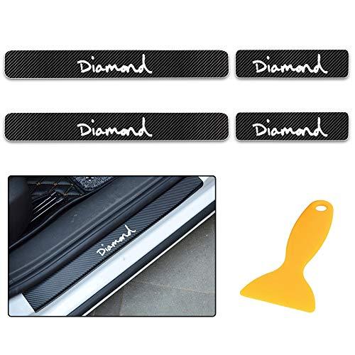 Für Citigo Kodiaq Fabia Rapid Octavia Yeti Superb 4D Carbon Einstiegsleisten Deko Folie, Lackschutzfolie Selbstklebend, Lackschutz Aufkleber Weiß 4 Stück