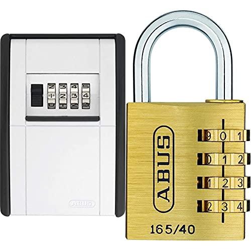 ABUS KeyGarage™ 787 - Schlüsselbox zur Wandmontage - für Schlüssel oder kleine Wertgegenstände & Zahlenschloss 165/40 - Vorhängeschloss aus Messing - mit einstellbarem Zahlencode - Messingfarben