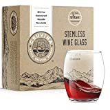 Unbreakable Stemless Plastic Wine Glasses: Shatterproof Tritan Cups, Ideal for Indoor and Outdoor Use, Elegant and Practical, 13 Ounce Glass Set of 4
