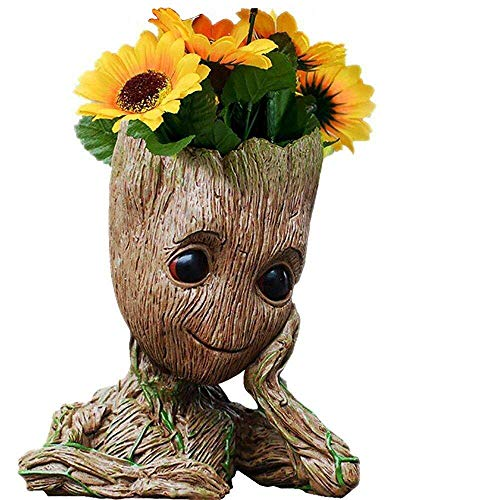 B-Best Guardians of The Galaxy Baby Groot Pens Holder Desk or Cute Planters Flower Pot with Drainage Hole Perfect for a Tiny Succulents Plants and Best Christmas Gift Idea 6'