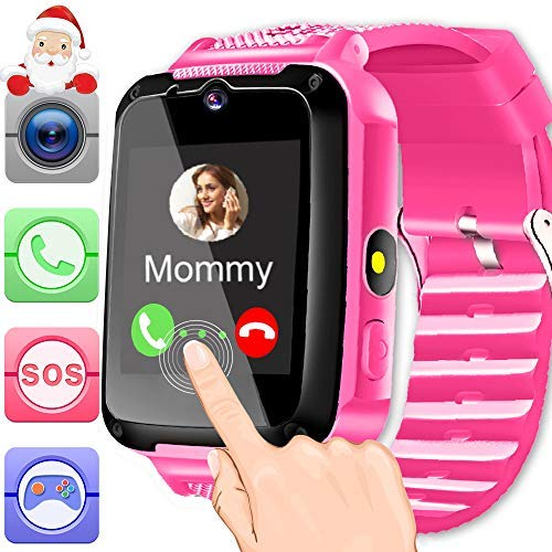 Kids Smart Watch Phone with Free SIM Card & 2Batteries for 3-12 Years Toddler Girls Boys with 1.44''...