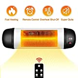 TRUSTECH Patio Heater Space Heater 1500W Adjustable Wall Heater with Remote Control & Timer, Indoor/Outdoor Heater with Overheat Shut Off Protection, Quiet Operation for Patio Use, Backyard, Garage