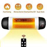 TRUSTECH Outdoor PatioHeater- 1500W Garage Heater w\/Remote, 24H Timer Auto ShutOff OutdoorHeater,SuperQuiet3sInstantWarmWall Heater, Space Heater for Patio, Garage, New Year