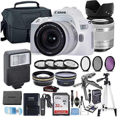 Canon EOS 250D (Rebel SL3) White DSLR Camera Bundle with Canon EF-S 18-55mm STM Lens + 32GB Sandisk Memory + Camera Case + Digital Flash + Accessory Bundle