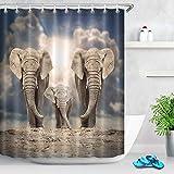 BNSDMM Elefant Dusche Vorhang Stoff Polyester Wasserdicht Tier Badezimmer Dusche Vorhang Mit Haken 180x200cm Dunkle Wolken