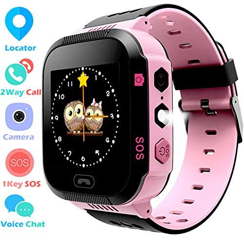 Kids Smart Watch Phone Watch for Boys Girls - Touchscreen Camera 2 Way Call Voice Chat SOS Alarm Clock Anti Lost Flashlight Game Sports Outdoor Smartwatch Bracelet Cellphone Wrist Watch (Pink)