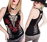 Sexy Biker Tattoo Angel Wings Skull Tee Motorcyle Graphic Rock Lace Off Shoulder Black Ladies T-Shirt (M, Nashvill Rose- Vixen Slash)