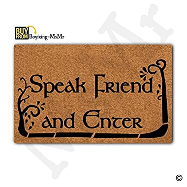 MsMr Doormat Cute Doormat Speak Friend And Enter Door Mat Decorative Home Indoor Outdoor Doormat Non-woven Fabric Top 18 x30
